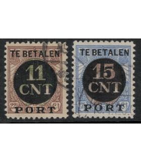 1 en 2 Postpakketverrekenzegel (o) C lijntanding