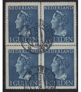 346 Koningin Wilhelmina (o) blok van 4