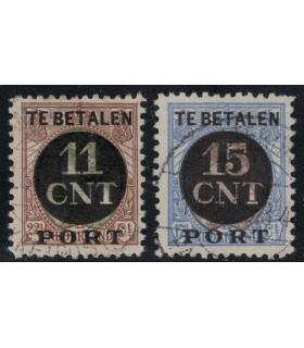 1 en 2 Postpakketverrekenzegel (o) B lijntanding