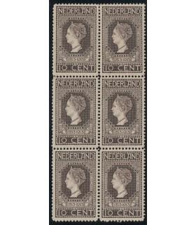 093 Jubileumzegel (xx) blok van zes met Befund