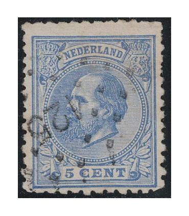 019E Koning Willem III (o) puntstempel 125