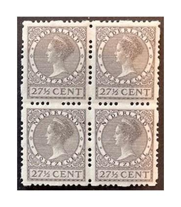 R52 Koningin Wilhelmina (xx) blok van vier